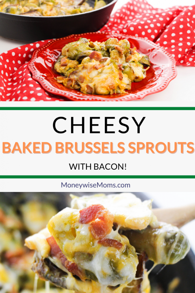 One of the pins showing the finished cheesy baked brussels sprouts ready to eat with title across the middle.