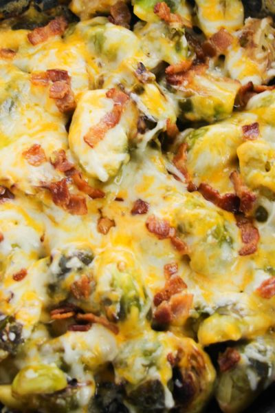 Baked Brussels Sprouts With Bacon And Cheese