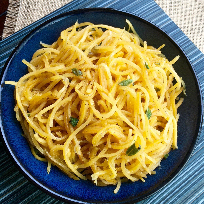 Butternut Squash Noodles in blue bowl