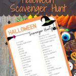 Free printable Halloween scavenger hunt game