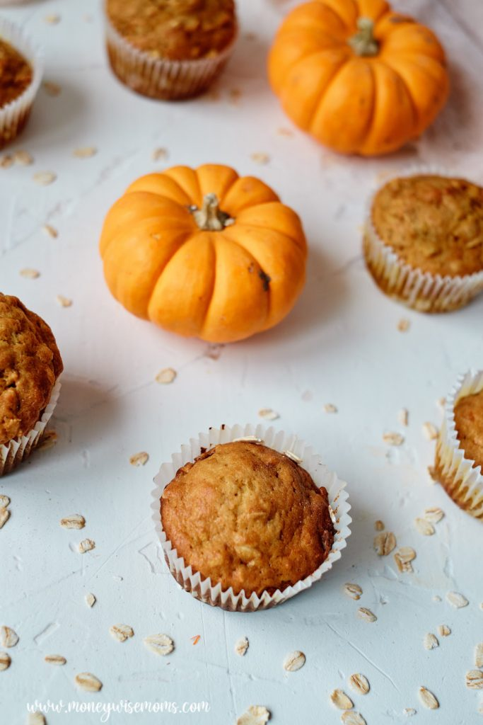 A top down view of the finished pumpkin oatmeal muffins.
