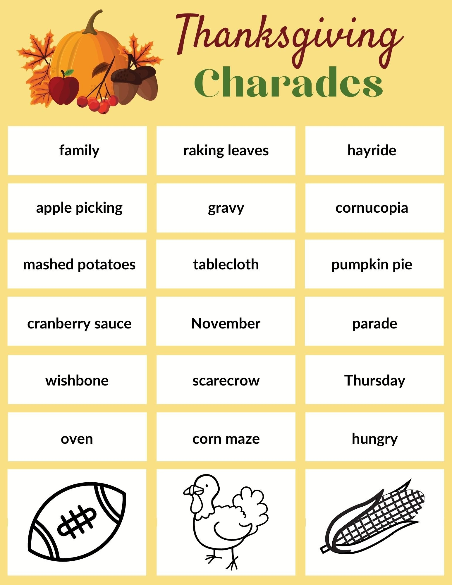 printable Thanksgiving game of charades