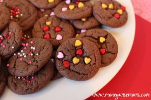 Finished valentine cake mix cookies ready to eat or share.