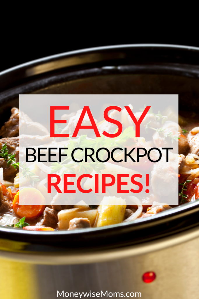 Pin showing the easy beef crockpot recipes title and a photo in background.