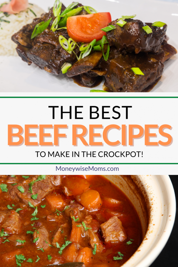 Finished pin showing the title across the middle and photos of beef crockpot recipes on top and bottom.