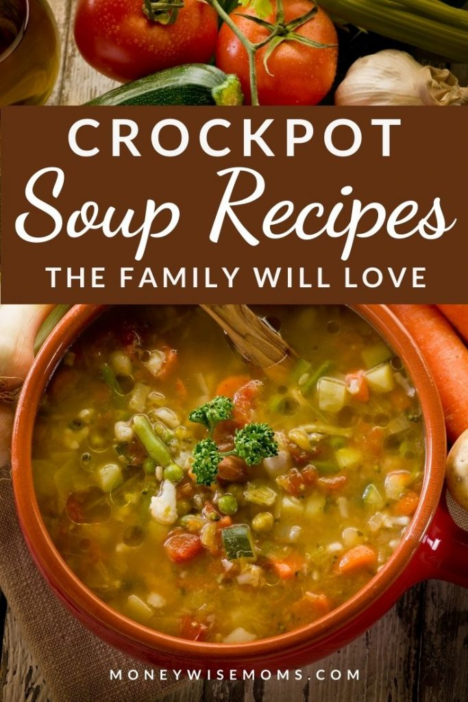 brown bowl of soup with vegetables behind it - Crockpot Soup Recipes