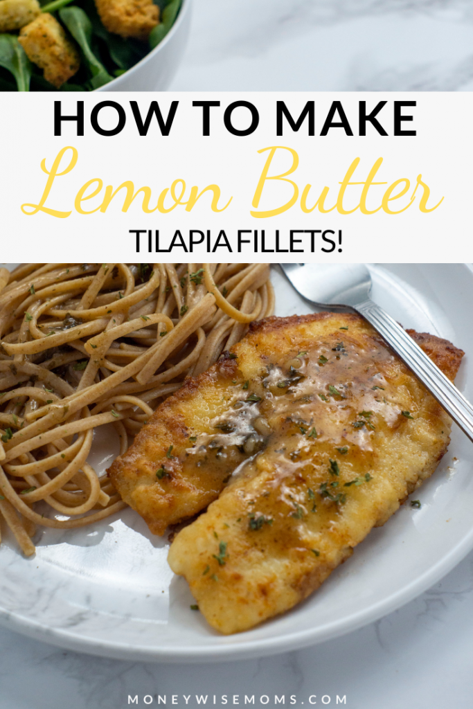 Pin showing the finished lemon butter tilapia fillet recipe ready to eat.