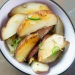 Roasted potatoes in white dish SQ