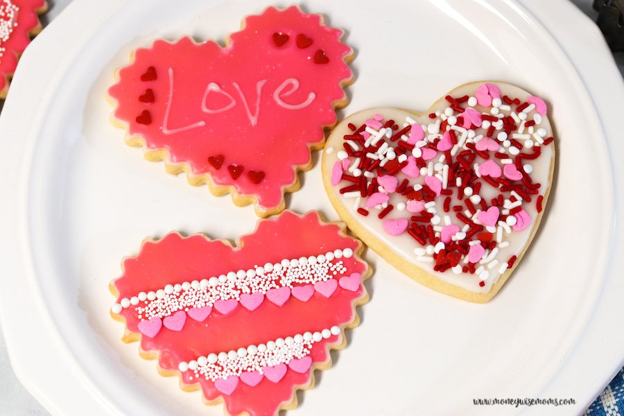 Finished valentine heart cookies ready to share.