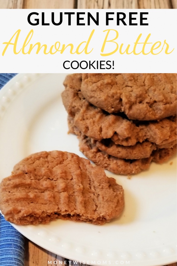 Pin shows finished almond butter cookies with title across the top.