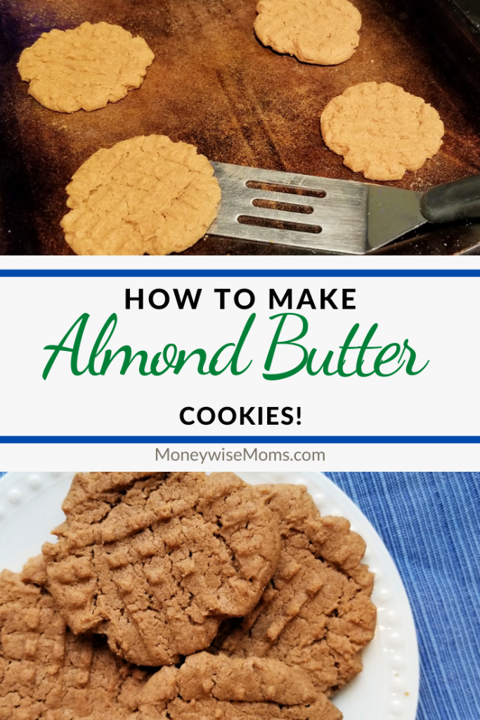 Pin shows finished almond butter cookies with title across the middle.
