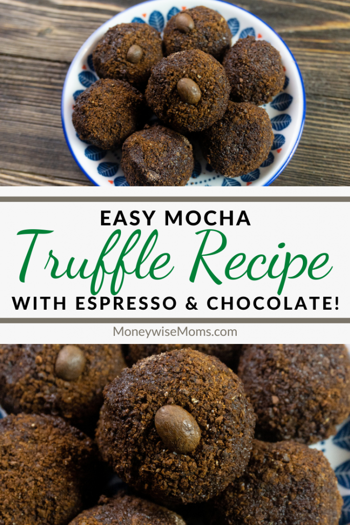 Another pin showing the finished easy truffle recipe with title in the middle.