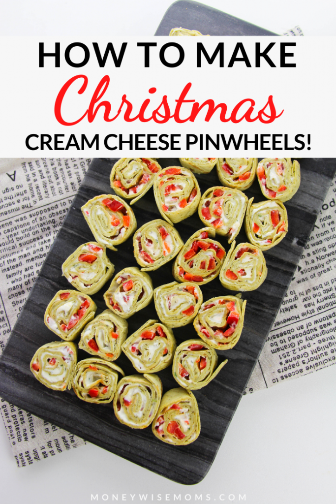 Pin showing the finished cream cheese pinwheels with title across the top.