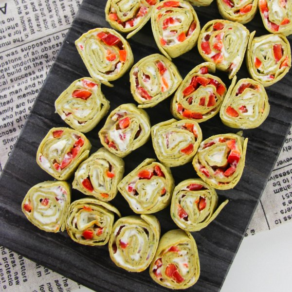 Cream cheese pinwheels on tray