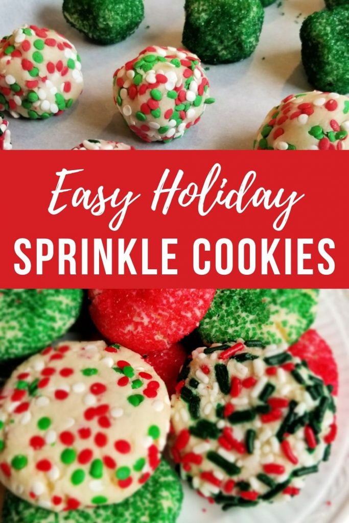 Balls of sugar cookie dough in sprinkles make deliciously Easy Holiday Sprinkle Cookies