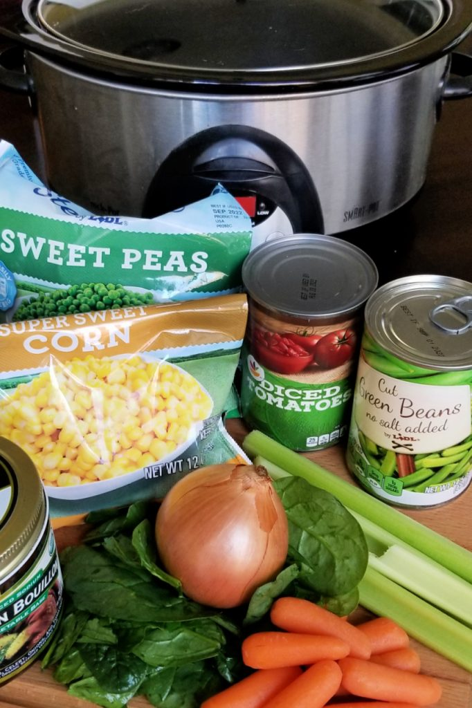 Ingredients to make vegetable soup in the slow cooker