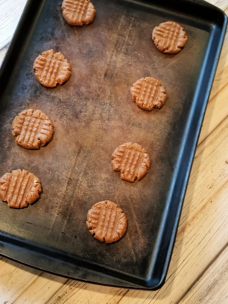 cookies on a pan ready for the oven.