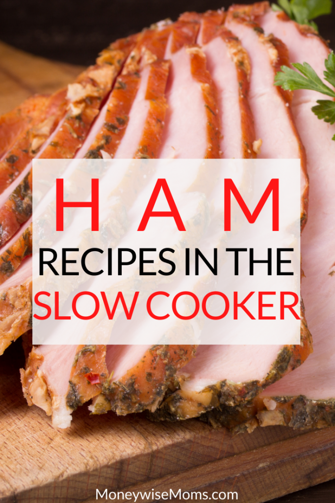 A final pin showing the cooked ham slow cooker recipes ready to enjoy.
