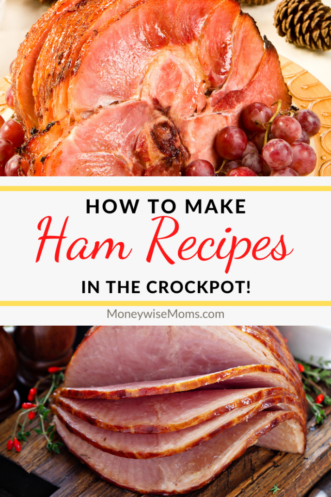 Another pin showing some finished cooked ham slow cooker reicpes with title in the middle.