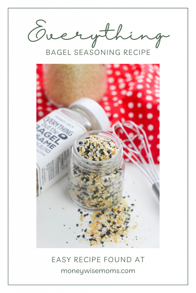 Pin showing the title as well as the finished images of the everything bagel seasoning recipe.