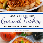 Another pin showing the finished ground turkey slow cooker recipes ready to eat.