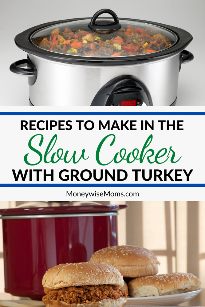 Pin showing the finished ground turkey crockpot recipes with title in the middle.