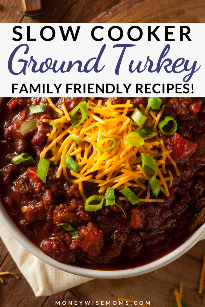 A finished ground turkey slow cooker recipes with title at the top.