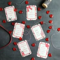 Friend valentine cards with red hearts and ribbon