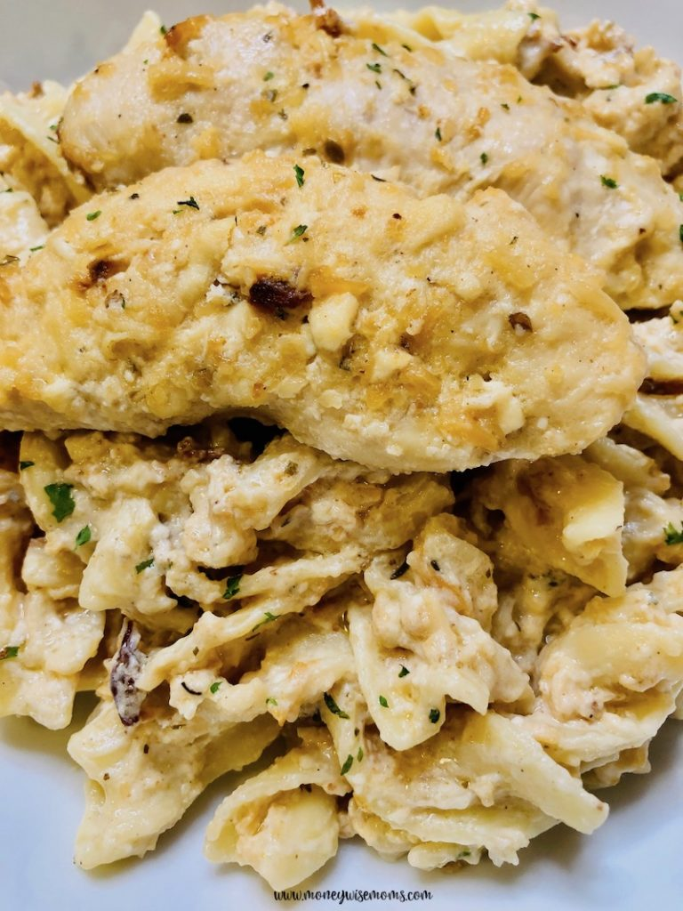 close up of the finished creamy chicken recipe ready to eat.