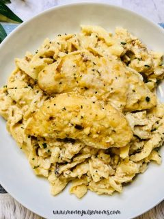 Featured image showing a plate full of the finished slow cooker creamy chicken ready to eat.