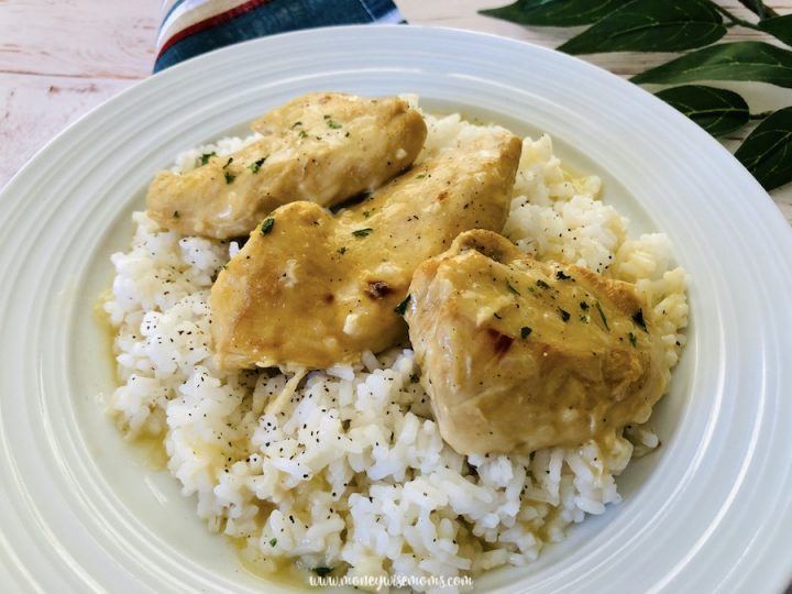 Featured image showing the finished crockpot lemon pepper chicken recipe ready to be enjoyed.