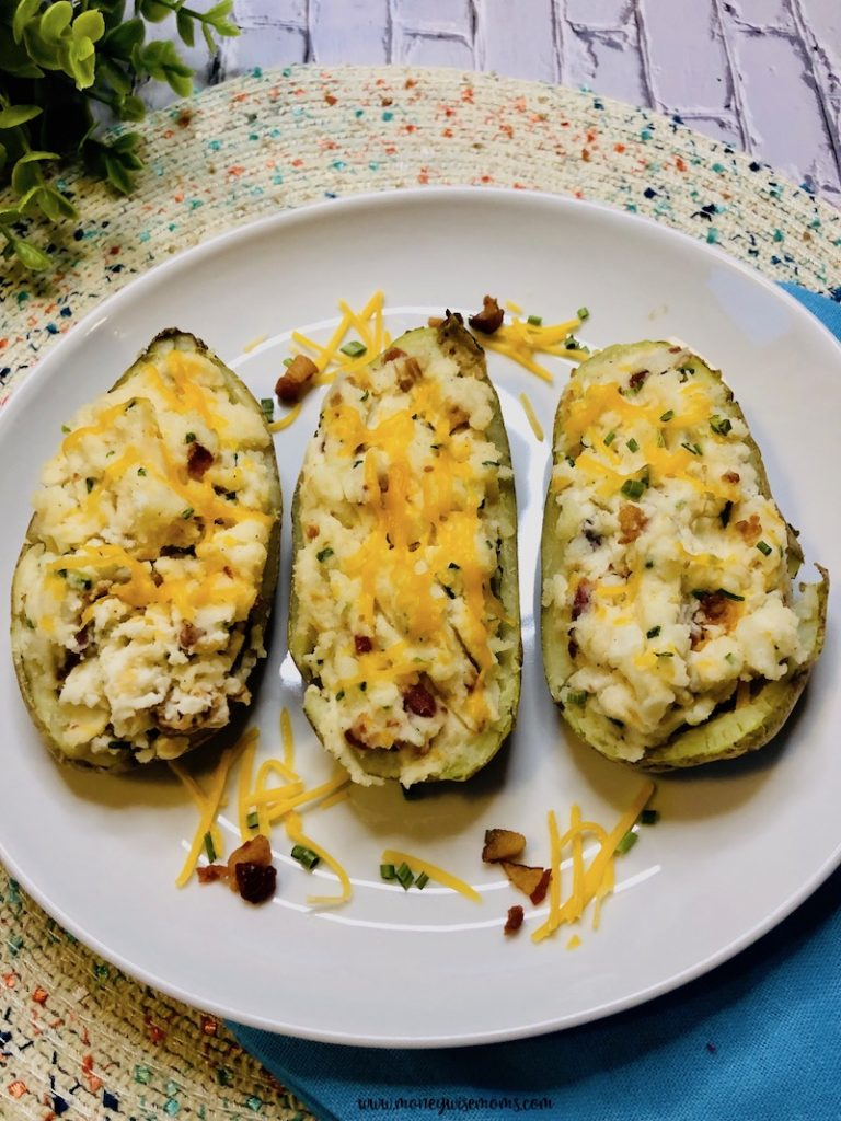 A look at the finished loaded baked potatoes ready to serve.