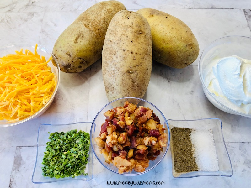 Ingredients needed to make twice baked potatoes.