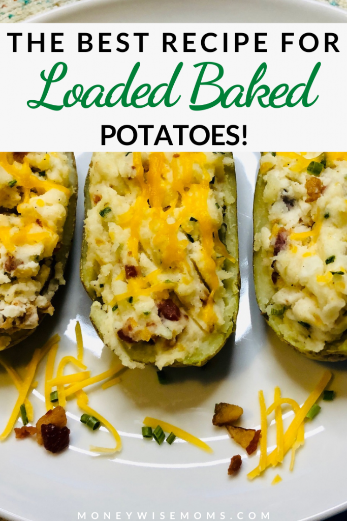 Another pin showing the finished twice baked potatoes recipe ready to eat title at the top.
