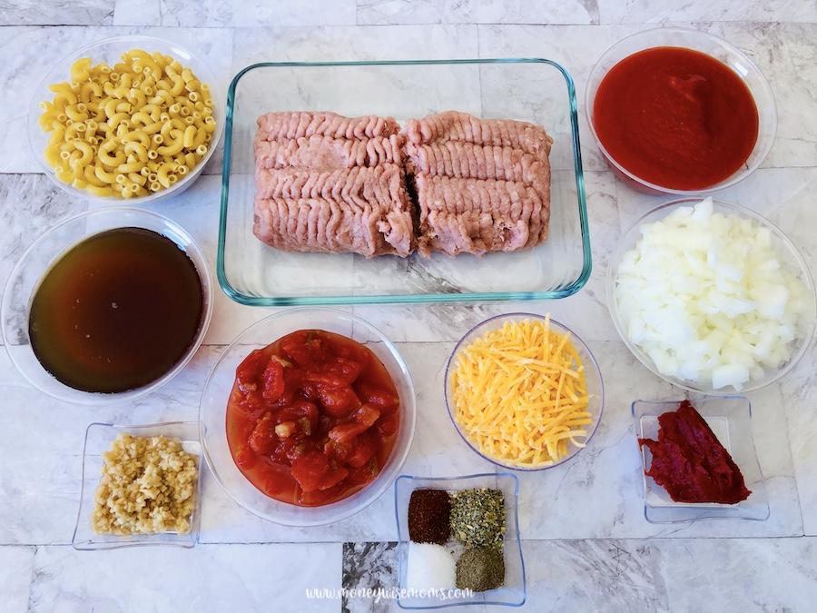 Ingredients for ground turkey goulash.