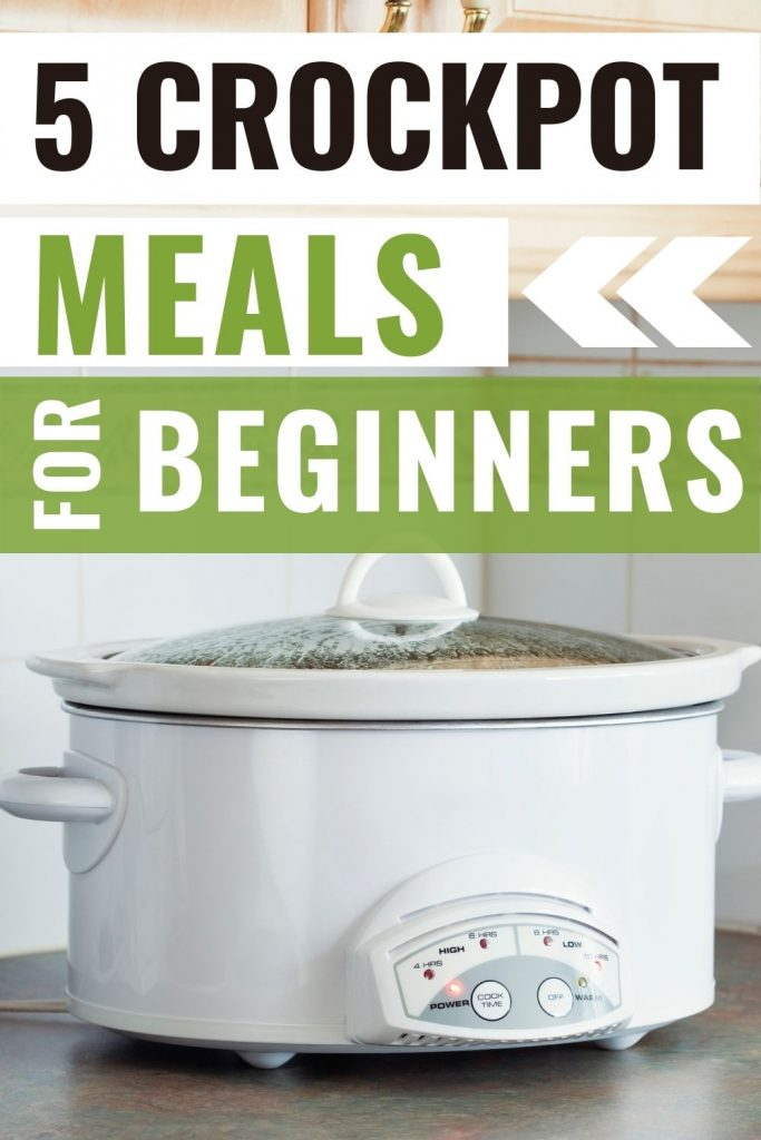 White crockpot on kitchen counter - beginner crockpot meals