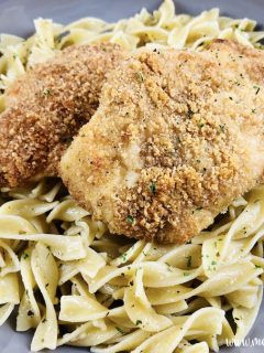 Featured image showing the finished parmesan crusted chicken with buttered noodles ready to eat.