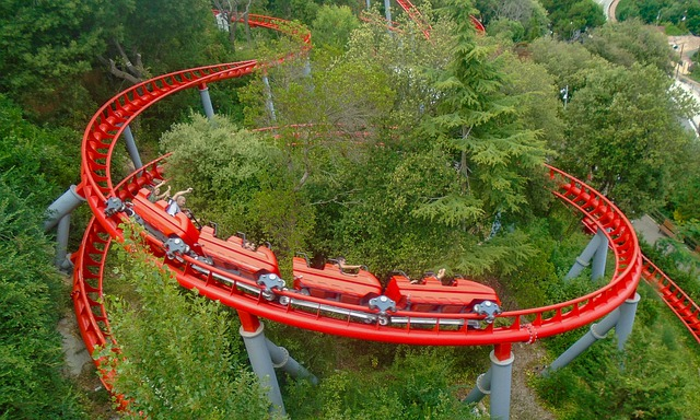 Red roller coaster winding through trees - military appreciation days at theme parks