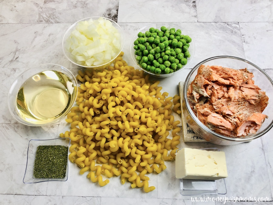 Ingredients needed to make salmon pasta recipe.