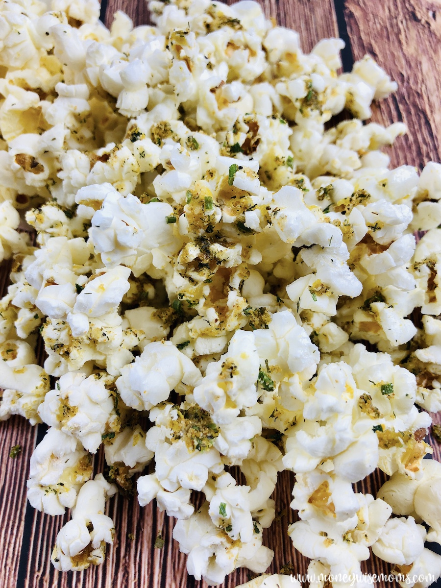 A close up of the finished popcorn recipe ready to eat.