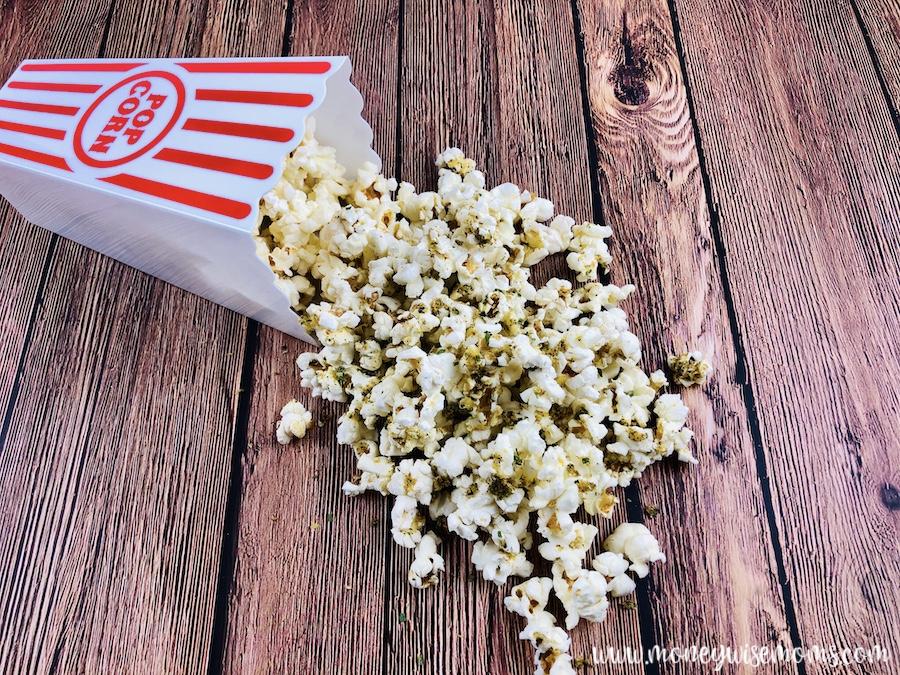 Finished zesty ranch popcorn ready to be enjoyed.
