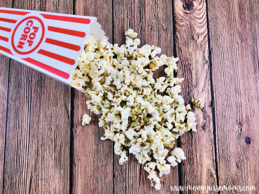 A delicious batch of zesty ranch popcorn ready to eat.