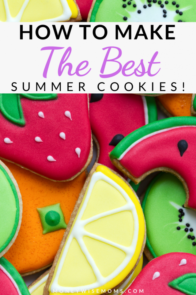 Pin showing summer cookies with title at the top.