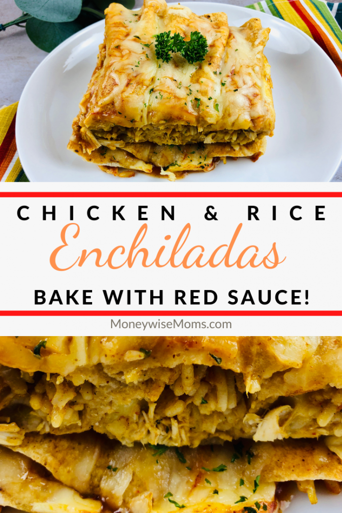 Pin showing the finished chicken enchiladas with red sauce ready to eat title in the middle.