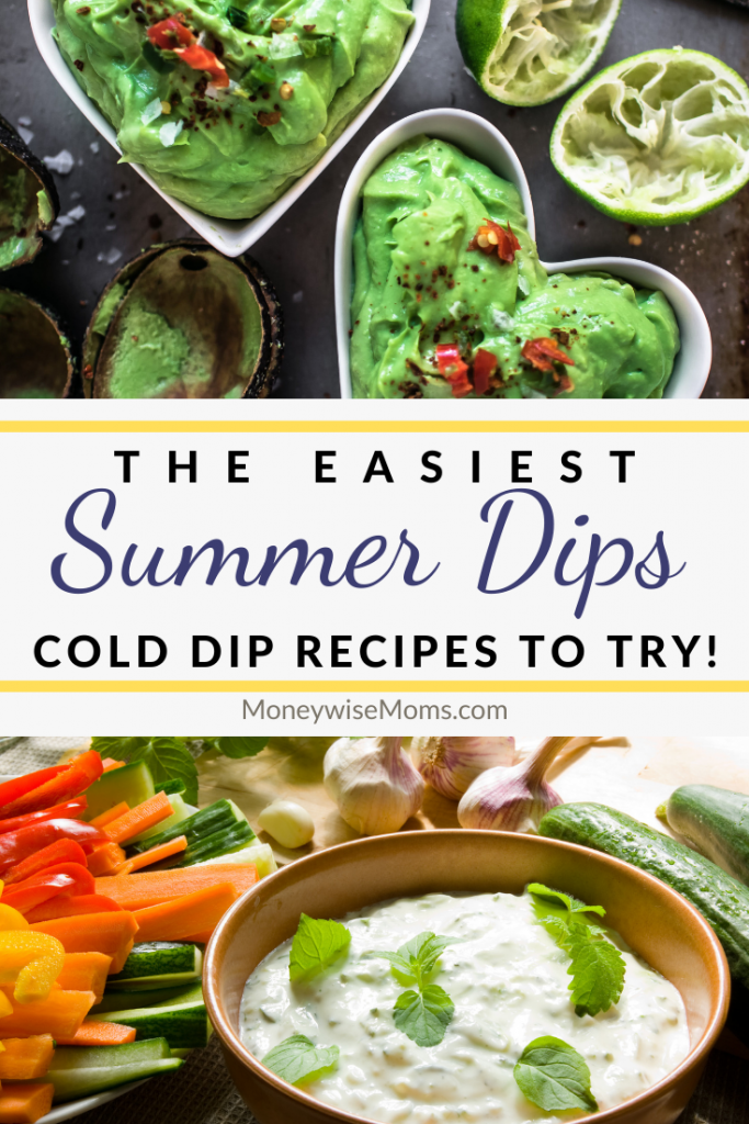 Pin showing the cold dips and summer dip recipes with title in the middle.