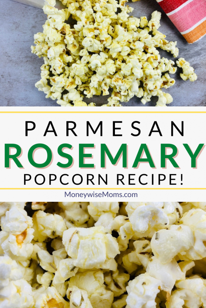 Making rosemary parmesan popcorn could not be easier. This simple snack is savory, salty, and delicious. It's great for movie night at home or just an anytime kid of snack!