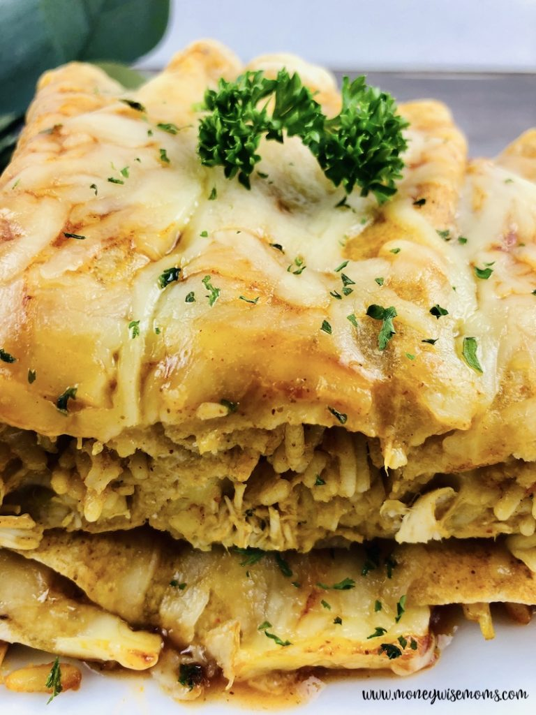 Side view of some of the enchiladas stacked up and ready to be enjoyed.