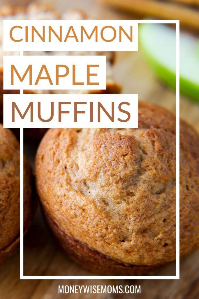 Cinnamon maple muffins on wooden serving tray