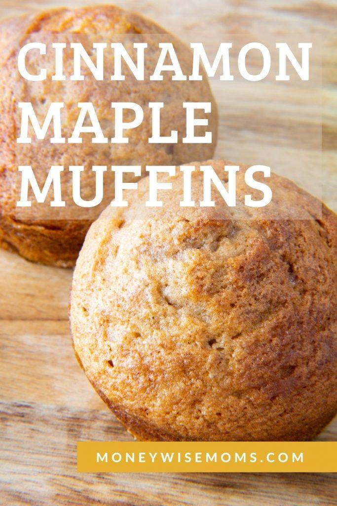 Cinnamon maple muffins on wooden cutting board