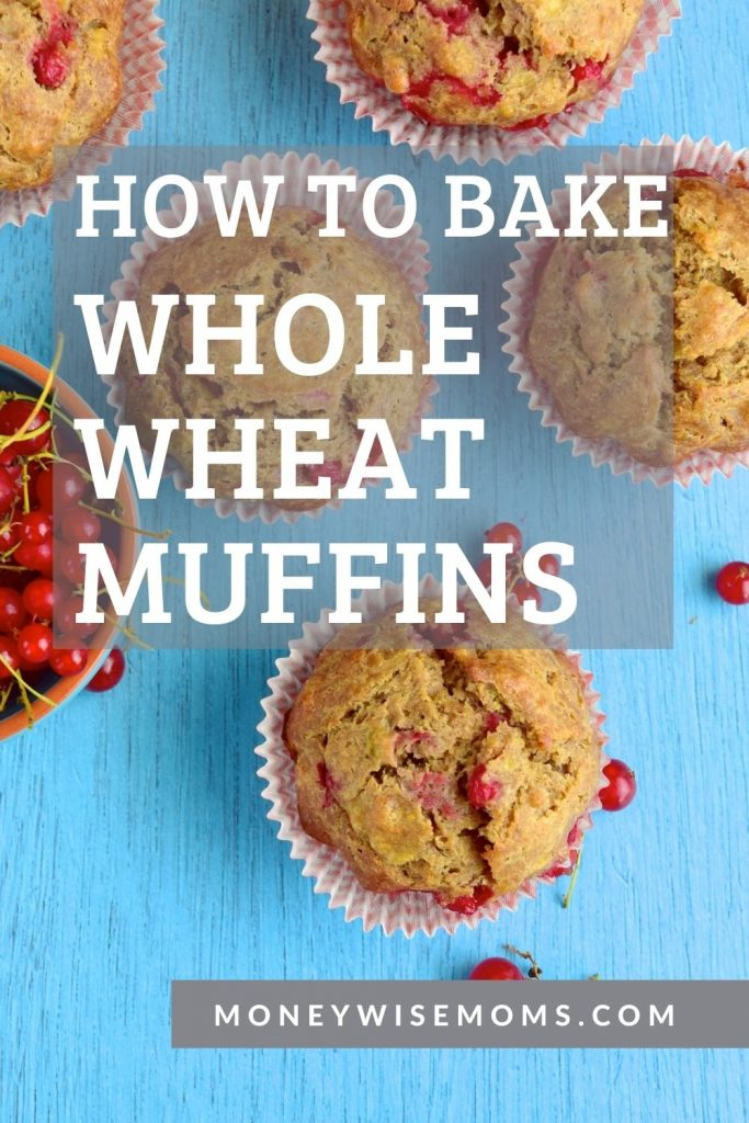how to bake whole wheat muffins - fruit muffins on blue table